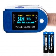 Пульсоксиметр (OLED Pulse oximeter) Mediclin кольоровий дисплей Синій